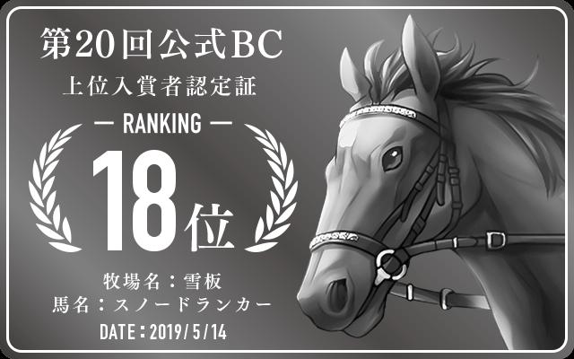 第20回公式BC 18位入賞者認定証 牧場:雪板 馬名:スノードランカー 認定日:2019年5月14日