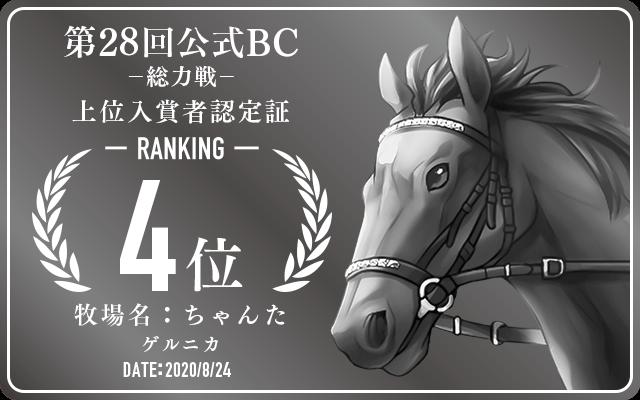 第28回公式BC 総力戦 4位入賞者認定証 牧場:ちゃんた 馬名:ゲルニカ 認定日:2020年8月24日