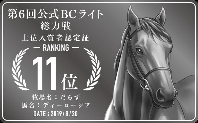 第6回公式BCライト 総力戦 11位入賞者認定証 牧場:だらず 馬名:ディーロージア 認定日:2019年8月20日