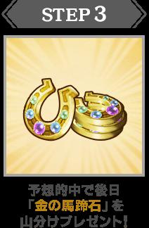 STEP:3|予想的中で後日「金の馬蹄石」を山分けプレゼント!