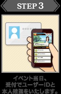 STEP:3|イベント当日、受付でユーザーIDと本人確認をいたします。
